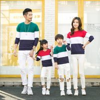 Spring New Matching Family Clothing Long Sleeve Color Stripe T Shirts Couples T Shirt Dad Mom