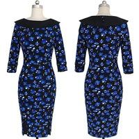 Polka Dot O Neck Dress Blue Floral Pritned Newest Winter Dress Vestidos De Festa 2016 Fall