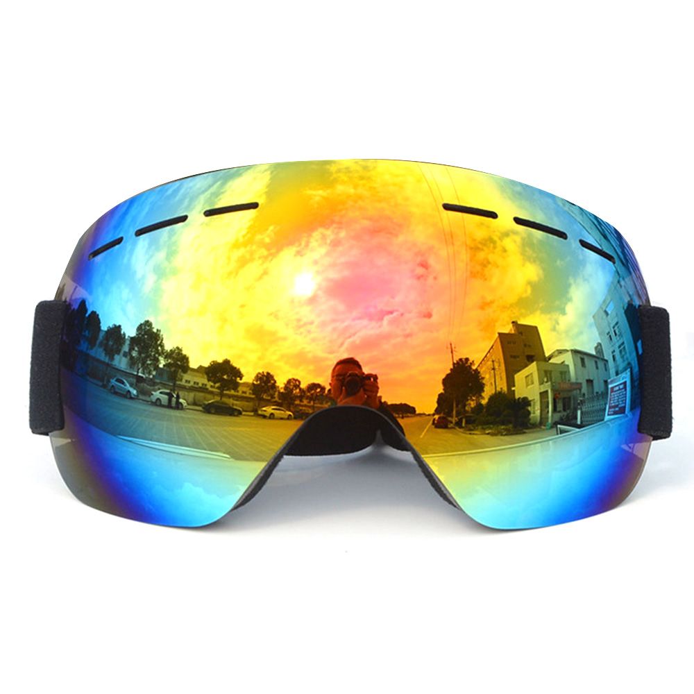 Outdoor Sports UV400 Skiing Goggles Double Layers Anti-fog Big Vision Mask Glasses Snow Snowboard Goggles For  Men Women