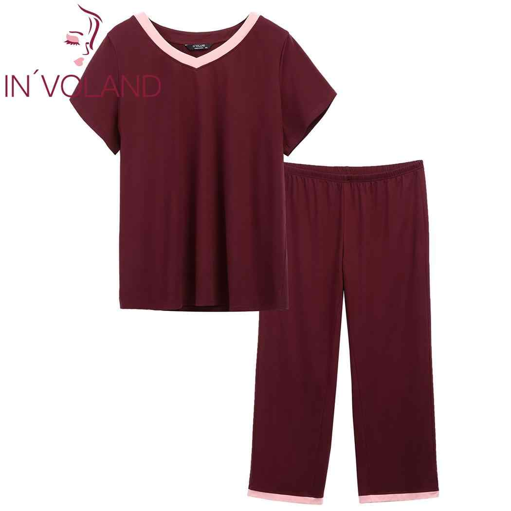 c29af6cead IN VOLAND Plus Size Sleepwear V-Neck Women Pajamas Loose Summer Pajama  Patchwork Short