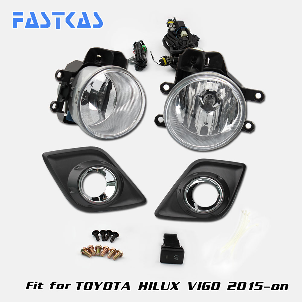 12v Car Fog Light Assembly for Toyota Hilux Vigo 2015-on Front Left and Right set Fog Light Lamp with Harness Relay 12v 55w car fog light assembly for ford focus hatchback 2009 2010 2011 front fog light lamp with harness relay fog light