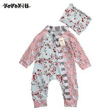 HOT SALE yoyoxiu Floral Newborn Baby Girls Clothes Romper Hat Flower Casual Autumn Clothing Jumpsuit