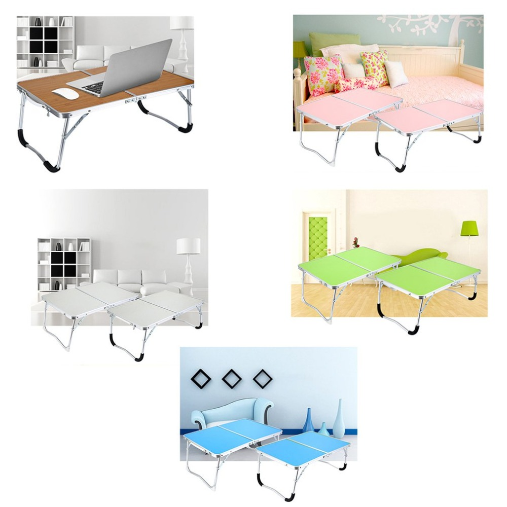 Laptop Double-Folding Computer Table Folding Computer Desk PC Laptop Table Writing Workstation Home Office Furniture image