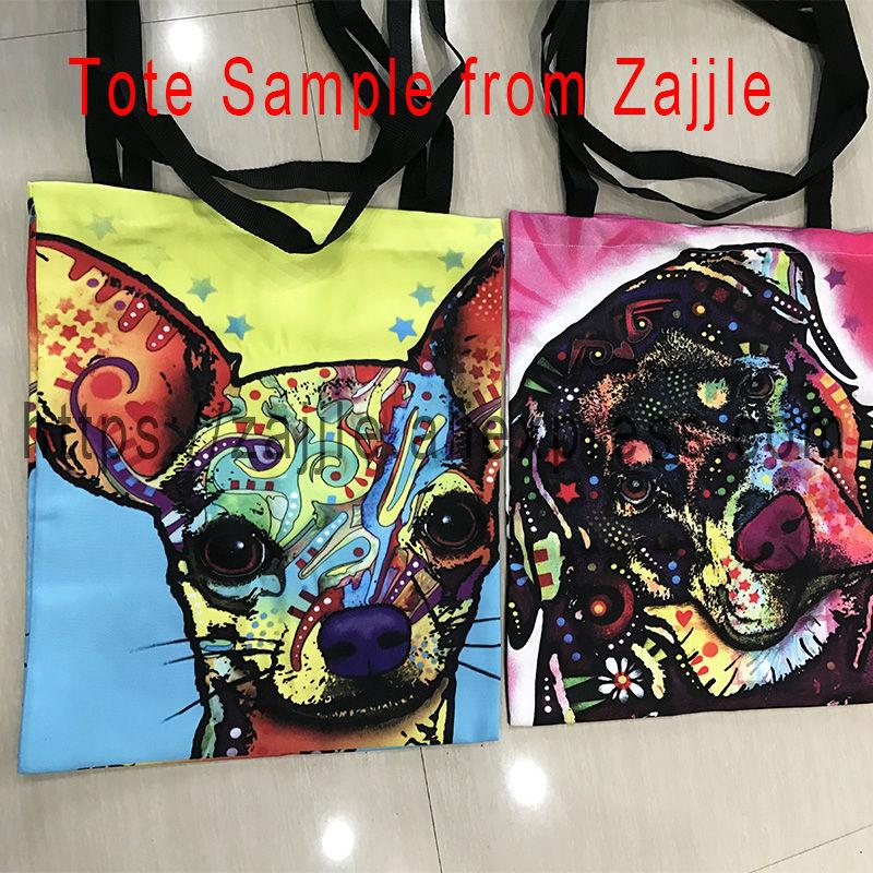 Weißer Segeltuch-Einkaufstaschen-buntes Hundeporträt druckte nette - Handtaschen - Foto 2