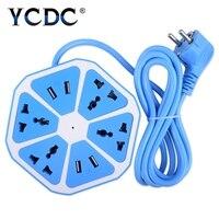 Vendita 1 OC Tutte Le Occasioni Safety Fashion Esteso Power Cube Presa Spina di UE 4 Prese Doppie Porte USB Adapter Con 1.7 m Cavo