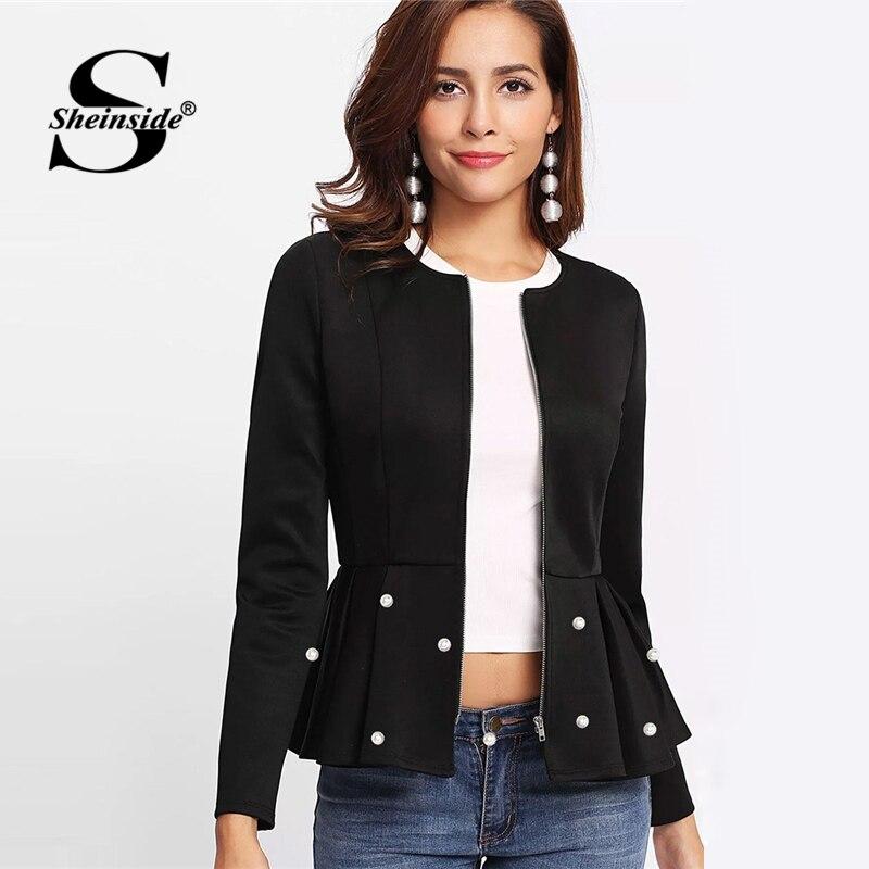 Sheinside Elegant Black Coats And Jackets Women Outerwear Zip Up Pearl Embellish