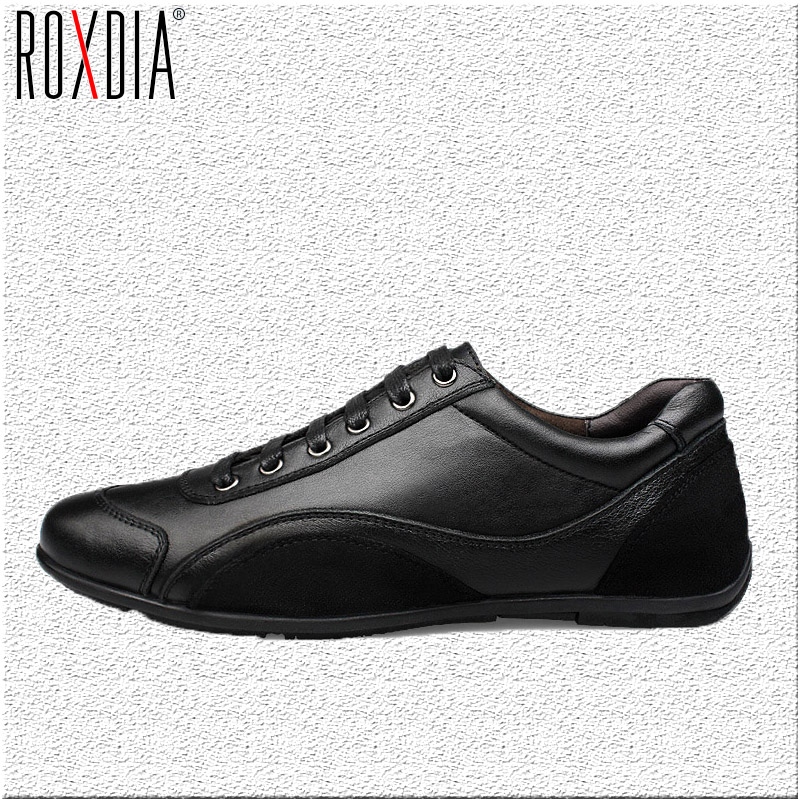 ROXDIA genuine leather first grade cow leather men's flats spring autumn winter men casual flat man shoes plus size 39-48 RXM040 roxdia spring autumn full grain leather men loafers fashion comfortable men s driving casual shoes man flats size 39 44 rxm033