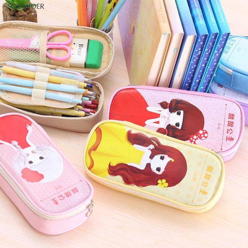 PU Creative Pencil Case Simple Design Style Zipper Pencil Bags Large Storage Pen Holders School Supplies Stationery Pencil Box