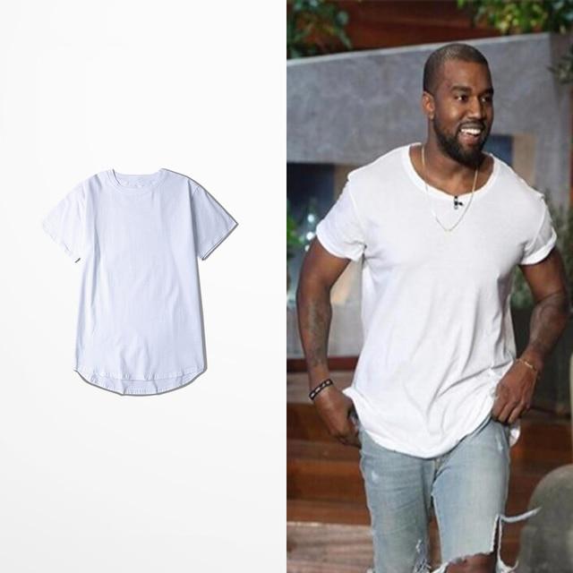 510f467e1 Kanye Justin Bieber Curved Hem Hip Hop T-shirt Men Urban Kpop Extended T  shirt Plain Longline Mens Tee Shirts Male Clothes