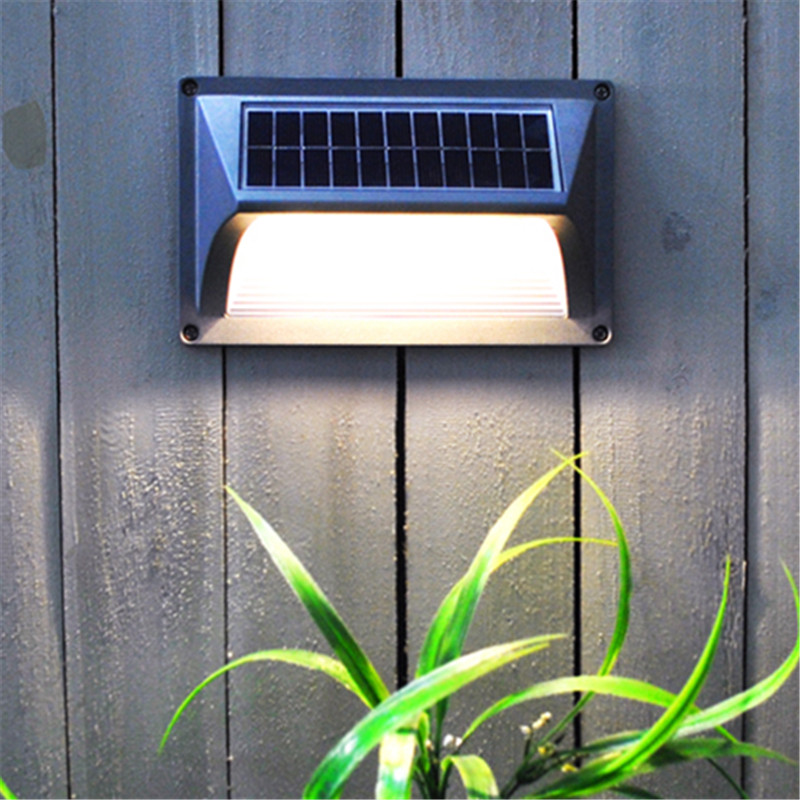 Light Control LED Solar Panel Step Wall Lamp Waterproof Outdoor Garden Fence Auto sensor Energy Saving Corner Stair Lighting