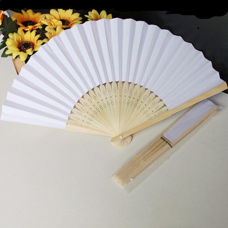 100 pcs lot 21 cm Wedding White color Paper Hand Fan Wedding Party Decoration Promotion Favor