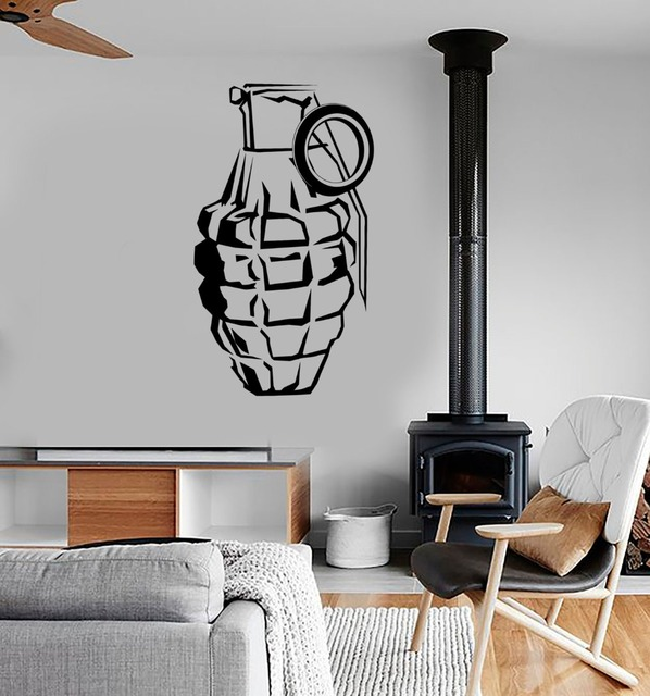 Cool War Grenade Wall Decals Adhesive Military Force Art Mural - Vinyl wall decal adhesive