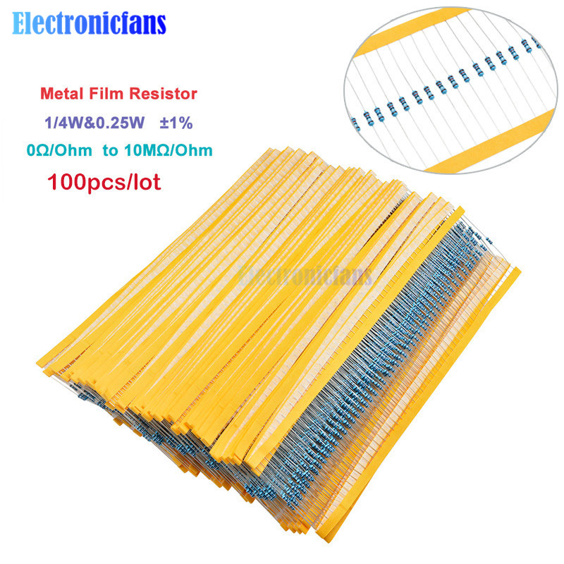 100pcs 1/4W 0.25W 0~10M Ohm 1% Metal Film Resistor 100R 220R 1K 1.5K 2.2K 4.7K 10K 22K 47K 100K 100 220 220 Ohm 1M Resistance