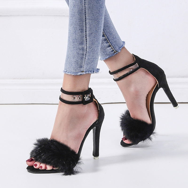 Women Sandals Heel High-Heel-Shoes Open-Toe Confortable Ladies Casual Fur Ankle-Buckle-Cover
