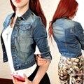 Vintage mulheres manga comprida casaco fino jeans curto Casual Jean Jacket casacos