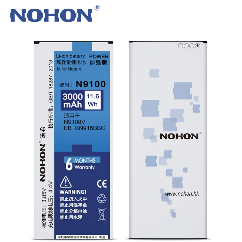 Hot NOHON Original <font><b>Battery</b></font> For Samsung Galaxy <font><b>Note</b></font> <font><b>4</b></font> Note4 N9100 N9109W N9108V EB-BN916BBC Replacement Batarya <font><b>3000mAh</b></font> Bateria image