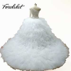 Image 4 - Illusion White Bridal Gowns Ball Gown 2020 Luxury Crystal beading Tulle Wedding Dresses Long Sleeves One Shoulder Royal Train