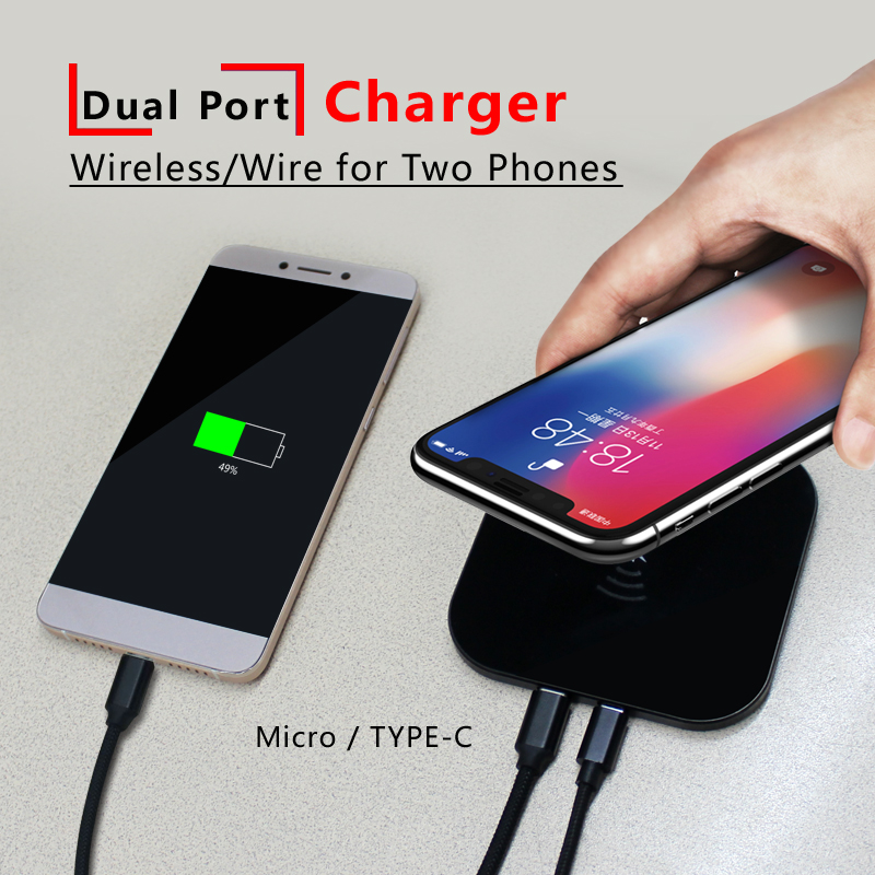 UNIBROTHER 10W Qi Fast Wireless Charger Type-C Micro Port Smart Charge Charging for Iphone X/8 Samsung Galaxy Note Xiaomi Huawei