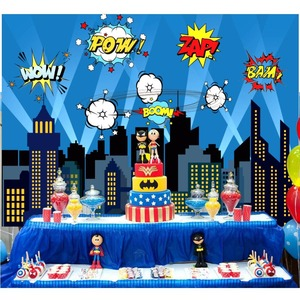 Image 5 - OurWarm Superhero Party Photography Backdrop Birthday Party Wall background With Mask Gifts For Kids Birthday Party Decoration