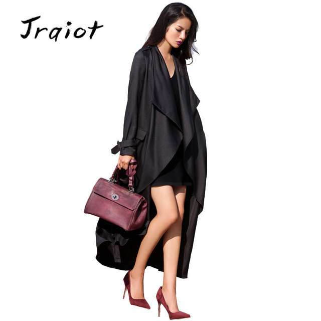 JRQIOT  Autumn Womens New Fashion Long Sleeve Trench Coat Ladies Open Front Tie Waist Casual Long Outerwear Coats