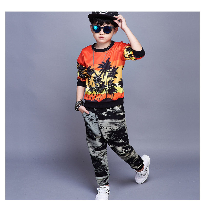 new kids clothes boys autumn printed  t shirts & harm pants sets 2 pieces children school clothing sets teenage boys sports suit
