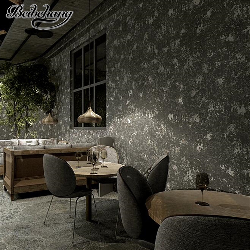 beibehang Korean gray wallpaper shop decoration personalized fashion industrial wind retro nostalgic clothing store wallpaper personalized clothing store track lamp