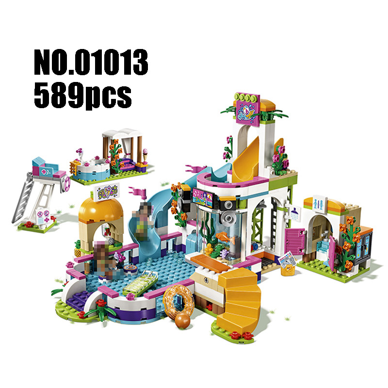 Models Building Toy The Heartlake Summer Pool 589pcs 01013 Building Blocks Compatible Lego Friends 41313 Toys & Hobbies waz compatible legoe friends 41313 lepin 01013 589pcs building blocks the heartlake summer pool bricks figure toys for children