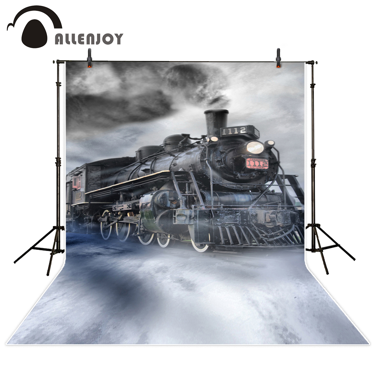 Allenjoy photography background a train with smoke vintage photography studio backgrounds background for photographic studio