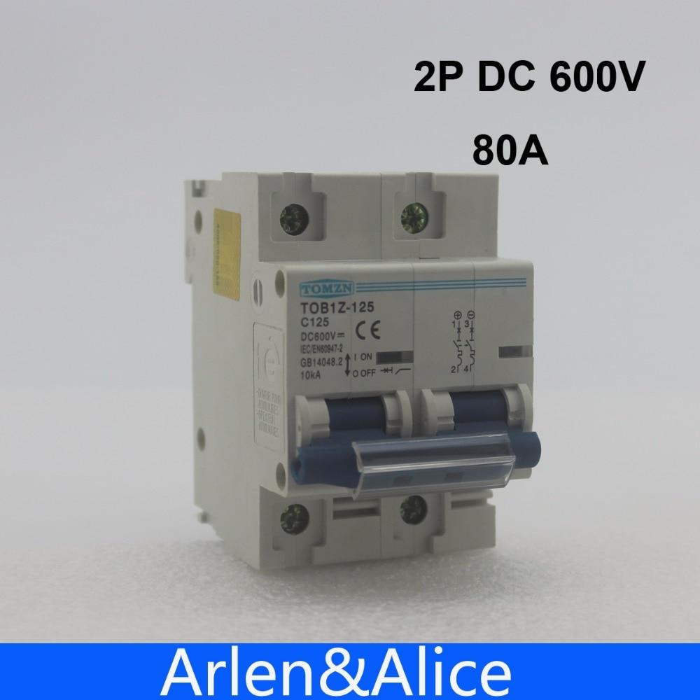 все цены на 2P 80A DC 600V Circuit breaker FOR PV System C curve MCB онлайн