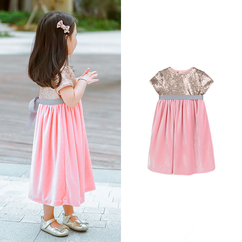 Girls Summer clothes Bling Bling Sequins velvet Splice High waist elegant PINK