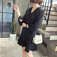 Fashion Striepd Nursing Maternity mini Dresses Pregnant women Loose Pregnancy Breastfeeding Dresses Sexy maternity Party shirts