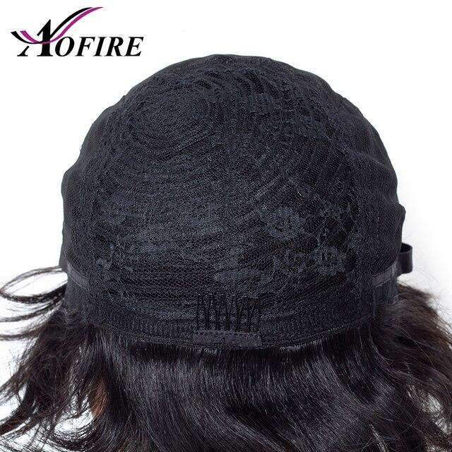 Aofire pelo corto de 6 pulgadas pelucas de cabello humano ondulado brasileño Remy peluca para Mujeres Negras/blancas pre arrancado