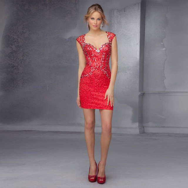 cc56c933b Sexy backless v-cuello rojo corto 2017 crystal vestidos de coctel cortos  mini con cuentas
