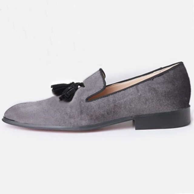 4f83b5492 New Handmade Gray Velvet Loafers Men Casual Dress Shoes With Black Suede  Tassel Big Size Men s Flats Fashion Slippers