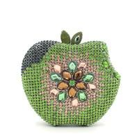 Manzana verde de Lujo de Las Mujeres Con Cuentas de Embrague Bolsa Bolso Nupcial Del Banquete de Boda de Lentejuelas de Diamante de Metal de La Vendimia Embragues Bolso de Noche