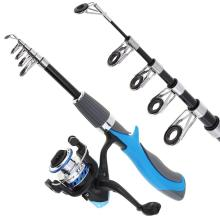 1.4M Mini Portable Rod Combo Telescopic Ice Rock Fishing + Spinning Reel kits