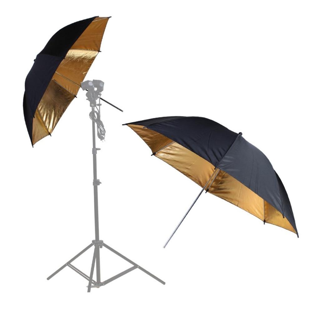 Translucent Umbrella Reflective Umbrella Reflector Flash Speedlight Speedlite Photography Photo Studio Kit Black an Golden Cover