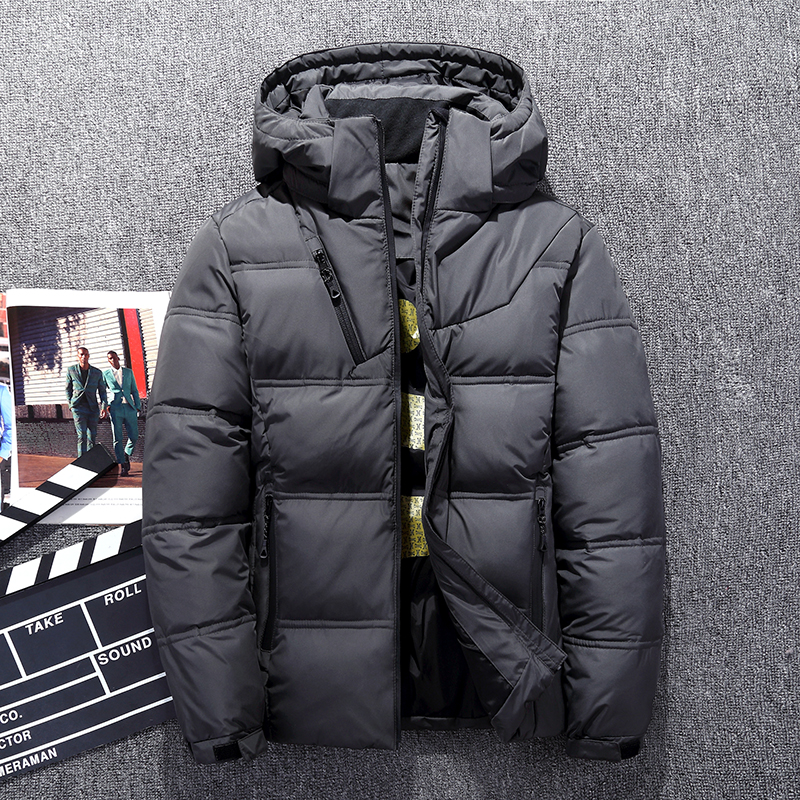 Hot Sale Windproof   Down   Jackets Men Warm Hooded Winter Outerwear High Quality Smart Casual White   Down     Coats   Male Padded Jacket
