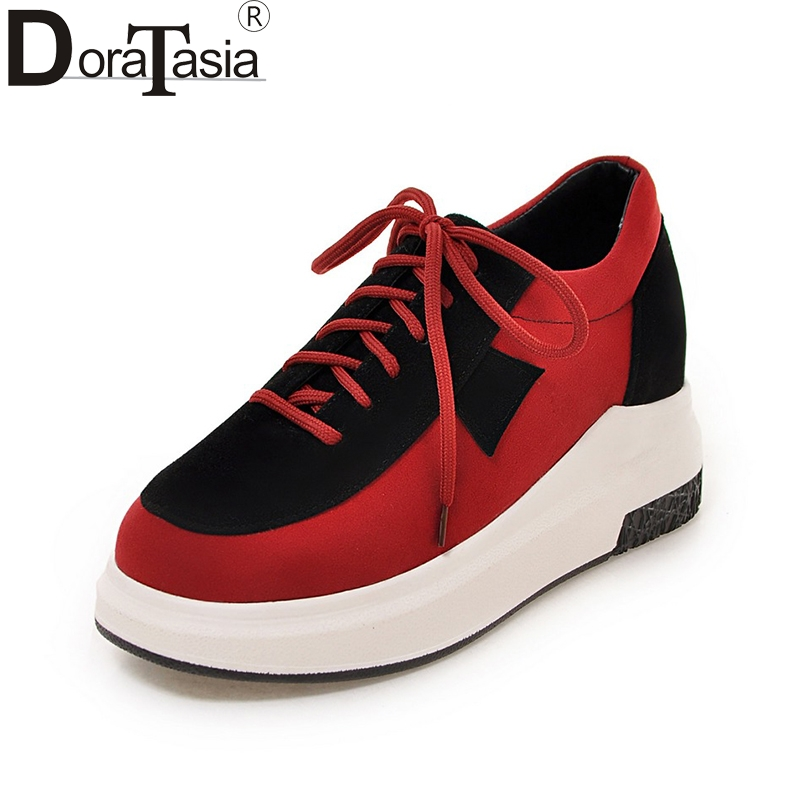 DoraTasia Fashion Large Size 34-43 Mixed Colors Girl Flat Platform Sneakers Women Lace Up Comfort Casual Shoes Woman doratasia flowers embroidery women shoes sneakers lace up fashion flat platform ladies shoes woman high quality
