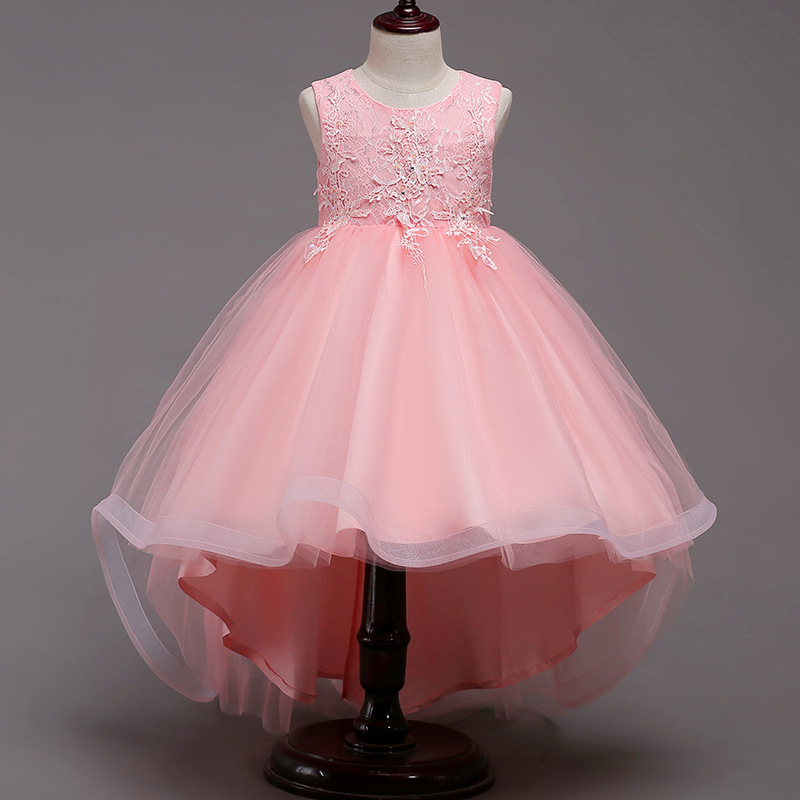 2018 new Lace ball gown Flower Girl Dress HIgh-low hem Christmas Tutu Flower Girl Dresses Princess Pageant Wedding Party Dress contrast raglan sleeve high low curved hem tee page 4