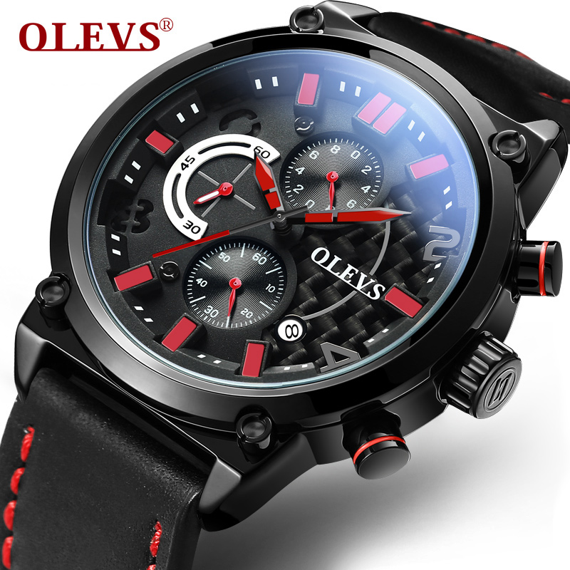 OLEVS Top Brand Men Quartz Watches Carbon Fiber Dial Leather Watchband Sports Male Watch Clock Waterproof Man Wristwatches 6828 lige 2017 new men s watches male quartz watch men real three dial luminous waterproof 30m outdoor sports leather watch man clock