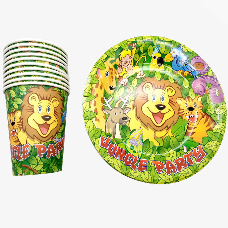 Kids Favors Happy Birthday Party Food Grade Paper Plates Jungle Animal Theme Decorate Cups Baby Shower Events Supplies 60PCS