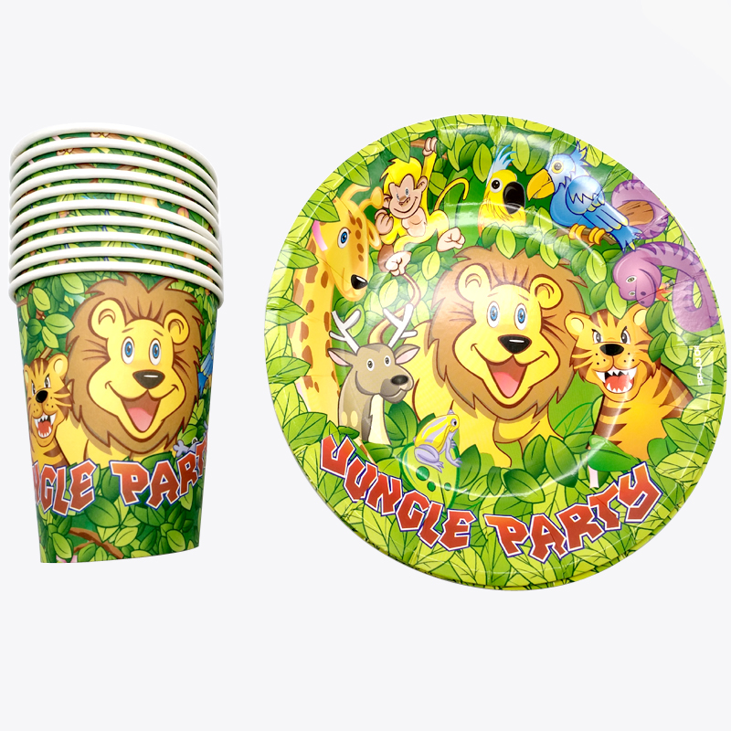 Disposable Tableware Sets Animal Theme Children/'s Party Decors Paper Plates Cups