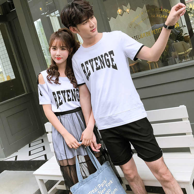 88757ded38e9 ... Matching Couple Clothes Lovers Preppy Style Girls Summer Valentine s  Date Cute Sweet Letter Two Piece Sheer ...