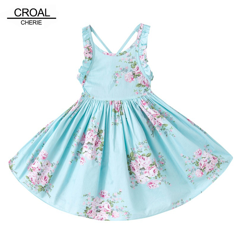12m-12y Blue Beautiful Flower Summer Sleeveless Girls Dresses Printed Princess Dress for Girls Costumes for Children Clothing fashionable spaghetti strap blue printed sleeveless dress for women