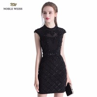 NOBLE WEISS Sexy Black Prom Dress O Neck Satin Wedding Party Dress Mini Beading Straight Luxury Backless Prom Gown