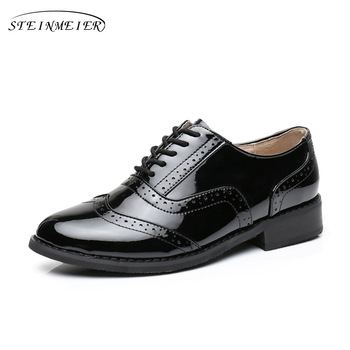 100% Genuine cow leather casual designer vintage lady flats shoes handmade oxford shoes for women 2018 black with fur 1