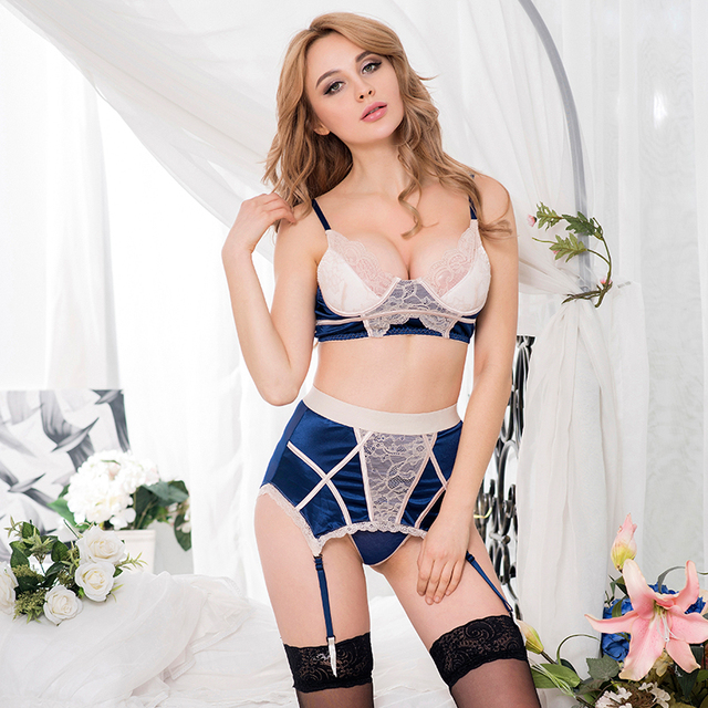 Hot erotic night wear plus size navy bra set