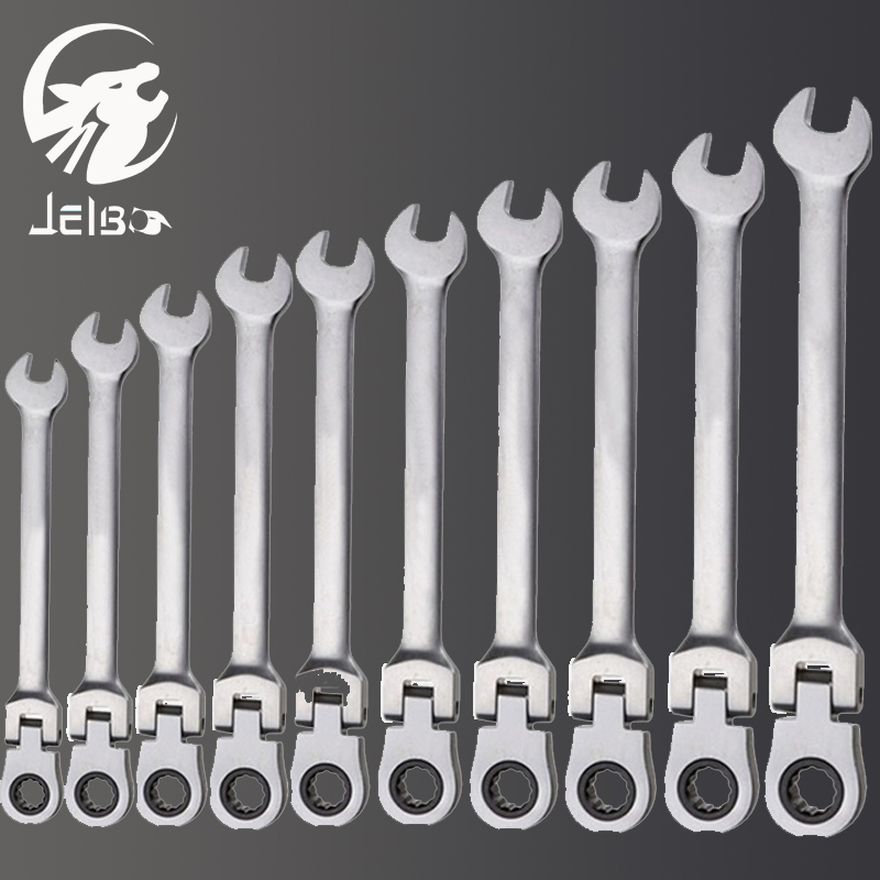Jelbo 6Pcs/set Ratchet Handle Wrench Fixed Head Ratcheting Combination Spanner Wrench Sets Hand Tools Ratchet Handle Wrenches 7pieces metric ratchet handle wrench set spanner gear wrench key tools to car bicycle combination open end wrenches 8mm 18mm