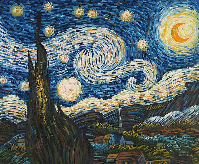 Hand painted High Quality Starry Night Landscape Oil